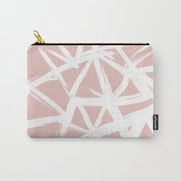 Modern white abstract geometric hand painted brushstrokes pale blush pink Carry-All Pouch