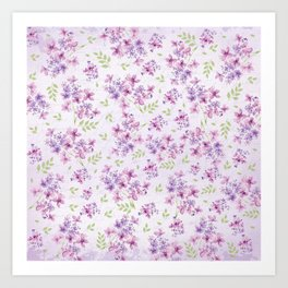 Little Purple and Pink Flowers Art Print