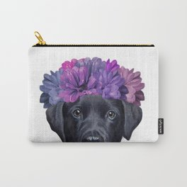Labrador Black with Flowers Carry-All Pouch