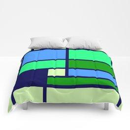 Mondrianista green blue Comforters