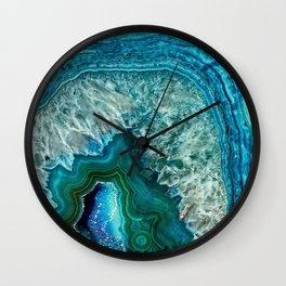 Aqua turquoise agate mineral gem stone Wall Clock