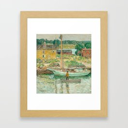 Oyster Sloop, Cos Cob 1902 by Childe Hassam Framed Art Print