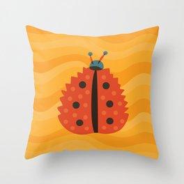 Orange Ladybug Autumn Leaf Throw Pillow