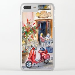 Red moped on the street of Paris Clear iPhone Case