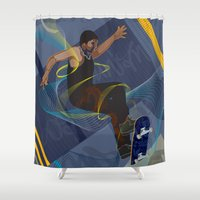 skateboard Shower Curtains featuring Project Skateboard by Martin Orme