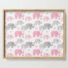 Pink Gray Elephant Baby Girl Nursery Serving Tray