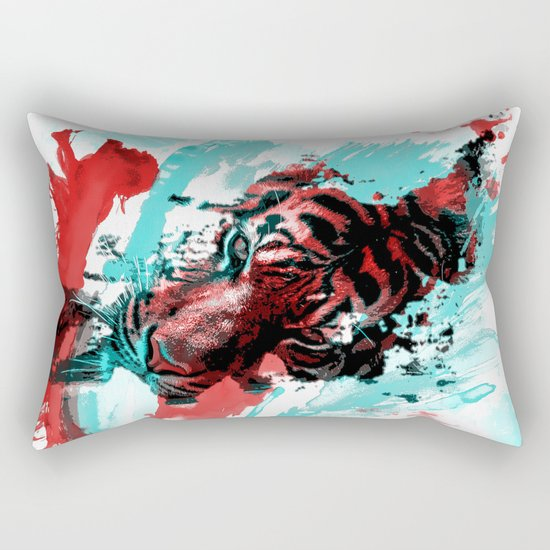 Tiger blue red 4 Rectangular Pillow