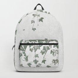 Gray Green Trailing Ivy Leaf Print Backpack