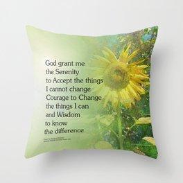 Serenity Prayer Sunflower Throw Pillow
