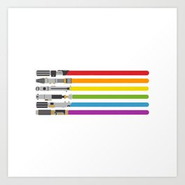 Lightsaber rainbow Art Print