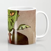lovecraft Mugs featuring Prophets of Fiction - H.P. Lovecraft /Cthulhu by niles yosira