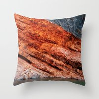 greg guillemin Throw Pillows featuring Orange rock - Greg Katz by Artlala for MSF Doctors Without Borders