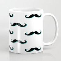 mustache Mugs featuring Mustache by JoanaRosaC