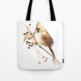 Cardinal Bird and Fall Berries Tote Bag