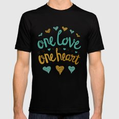 One Love One Heart Black Mens Fitted Tee MEDIUM