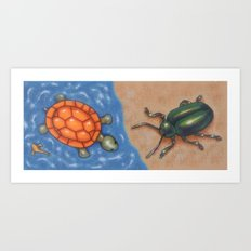Turtle and Beetle Mug Art Print