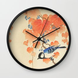 Colorful bird sitting on a tree branch - Japanese vintage woodblock print art  Wall Clock
