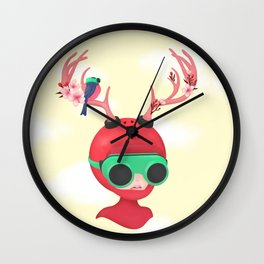 neon deer Wall Clock
