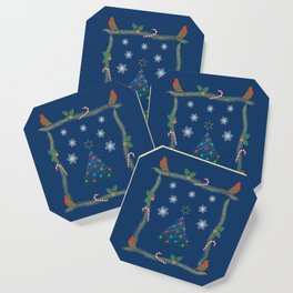 Christmas Pattern Collage Coaster