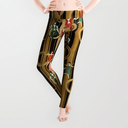 Art Deco Charleston Dancers Pattern Leggings