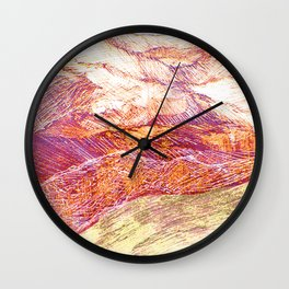 Mountains landscape drawing Wall Clock