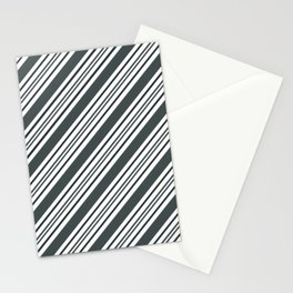 PPG Night Watch Pewter Green and Dark Green Thick and Thin Angled Lines - Stripes Stationery Cards