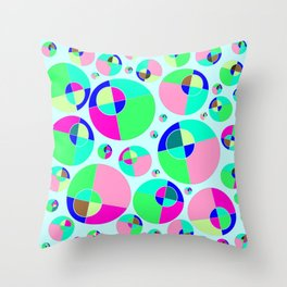 Bubble pink & green Throw Pillow