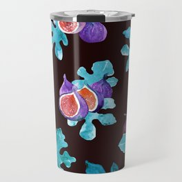 Watercolor Figs Fruit and Leaves Travel Mug