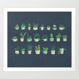 Tiny garden blue Art Print