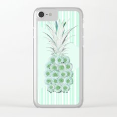 Floral Pineapple Stripes Mint Clear iPhone Case