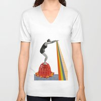 jelly fish V-neck T-shirts featuring Jelly by Happy Red Fish Art
