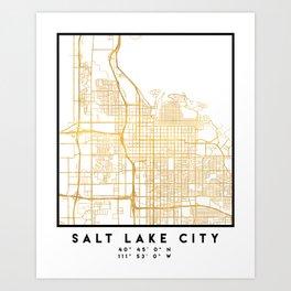 SALT LAKE CITY UTAH CITY STREET MAP ART Art Print