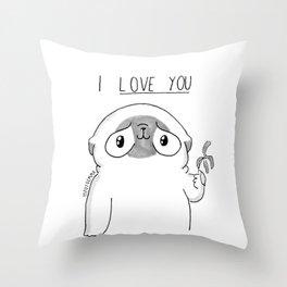 PUG Mochi - I love you Throw Pillow
