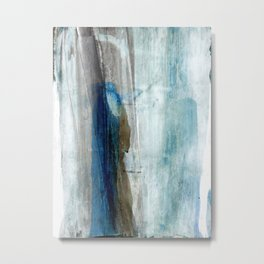 Blue and Brown Abstract Watercolor Metal Print