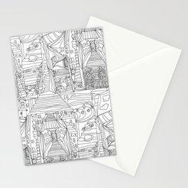 doodle cartoon village Stationery Cards