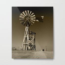 Sepia Toned Plains Frontier Windmill at 1880's Town in South Dakota Metal Print