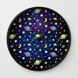 Colourful Stars and Planets Pattern Wall Clock