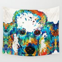 poodle Wall Tapestries featuring Colorful Poodle Dog Art by Sharon Cummings by Sharon Cummings