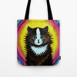"""Louis Wain's Cats """"Psychedelic Rainbow Cat"""" Tote Bag"""
