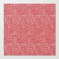 Hand Knit Red Canvas Print