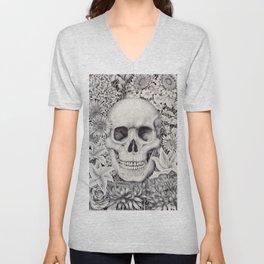 Skull and Flowers Vanitas Unisex V-Neck