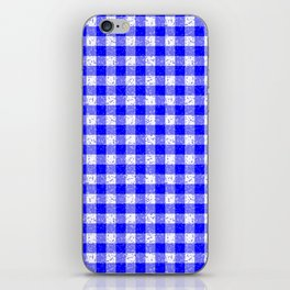Gingham Blue and White Pattern iPhone Skin