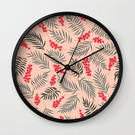 Holiday Mistletoe Pattern Wall Clock