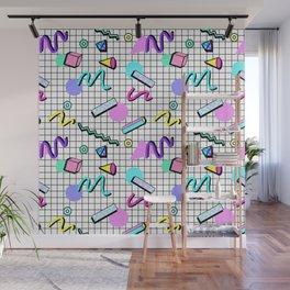 80s Retro Party Grid Design (White BG) Wall Mural
