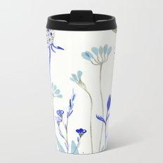 Blue Garden Metal Travel Mug