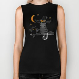 Magic Whitch cat in a hat and her black cat-bat for Halloween Biker Tank