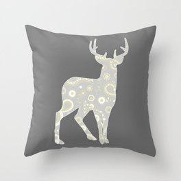 Buck Paisley Pattern Grey and Yellow  Throw Pillow