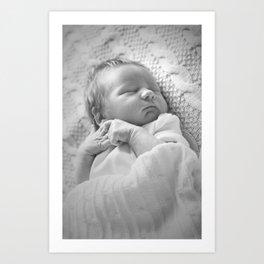 Black and white sleeping newborn baby Art Print