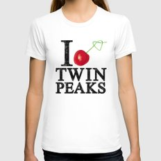 I Love Twin Peaks (Cherry Stem) White Womens Fitted Tee LARGE