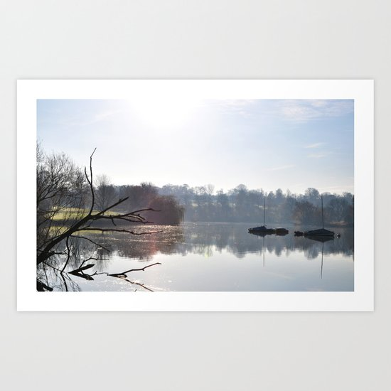 Boats on the lake Art Print